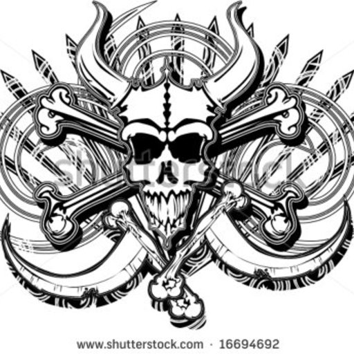 Big stock vector grunge horned beast pirate skull bones and crossed death scythes spikes and swirls vector 16694692